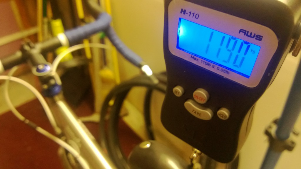 All newborn babes need to be weighed - 11.9kg (26.2lbs) with heavy tires/tubes and a leather Brooks saddle.